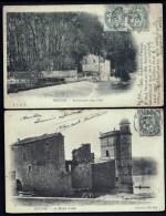LOT 2 CPA PRECURSEURS- BEZIERS- EPANCHOIRS AU MOULIN DE L'ORB + PLUS MOULIN CORDIER ET RUINE EN 1900- GROS PLAN - Beziers