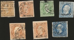J) 1866 MEXICO, EMPEROR MAXIMILIAN, NICE LOT LITHO MULTIPLE CANCELLATION, XF - Mexico