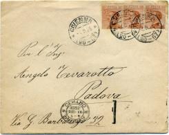 A329 1925 Busta Da Civenna Con Striscia Di 3 Del 20 Cent. Michetti (Sassone 183) - 1900-44 Vittorio Emanuele III