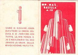 TESSERA-ONB-ANNO-IX-OPERA NAZIONALE BALILLA-LA PICCOLA ITALIANA-ISCRITTA DAL1931 -SEZ. TRANI-BARI -OTTIMA CONSERVAZIONE - Reclame