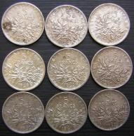 France: Lot De 9 Pièces De 5 Francs En Argent Entre  1961 Et 1969 + Cadeau ! - Francia