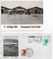 Carte Postale ( X2 ) + Enveloppe 1er Jour Commémoratives - Camp D´AGDE ( Réfugiés Espagnols Et Tchécoslovaques ) - Agde