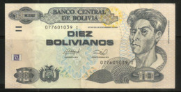Diez Bolivianos (Peintre Leader Du Mouvement De L´art Indigène Bolivien), Billet Bon état - Bolivia