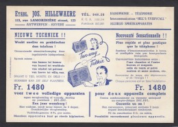 BELGIQUE:CARTE PUB. ETBS. JOS. HILLEWAERE,ANVERS/ANTWERPEN,AVEC TIMBRE PREOBLITERE DE 1947. - Prematasellados