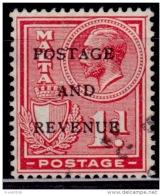 Malta 1928, KGV, Overprinted, Sc#150, Used - Malta (...-1964)