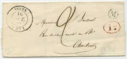 LSC - 1842 - Voves ? (28) Pour Chartres (28) - Marcophilie (Lettres)