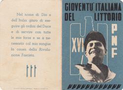 TESSERA-PNF-XVI-GIOVENTU' ITALIANA DEL LITTORIO-IL BALILLA ISCRITTO DAL 1934-PROV.CATANIA-OTTIMA CONSERVAZIONE-2 SCAN - Pubblicitari