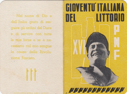 TESSERA-PNF-XVI-GIOVENTU' ITALIANA DEL LITTORIO-IL BALILLA -OTTIMA CONSERVAZIONE-2 SCAN - Advertising