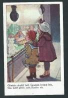 Deux Enfants émerveillés Devant Une Vitrine De Jouets. Teddy, Poupées, Cheval En Bois...Voir Dos!    2 Scans. - Jeux Et Jouets