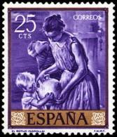 ESPAÑA SEGUNDO CENTENARIO NUEVO Nº 1566 ** 25C VIOLETA  JOAQUIN SOROLLA - 1961-70 Neufs