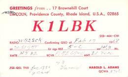 Amateur Radio QSL - K1LBK - Lincoln, RI -USA- 1968 - 2 Scans - Radio Amateur
