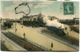 -  7 - NANTES - La Gare D'Orléans, Train à Vapeur, Belles Couleurs, épaisse, 1911, Pour St-Etienne, TBE, Scans. - Nantes