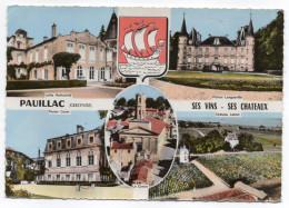 """PAUILLAC--1966--Multivues""""Ses Vins,ses Chateaux""""  Cpsm 15 X 10  N° CE 5  éd  Combier--beau Cachet Hexagonal - Pauillac"""