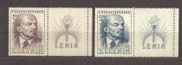 Czechoslovakia Tschechoslowakei 1949 MNH **Mi 562-563 Zf R Sc 370-371 25th Anniversary Of The Death  V.I.Lenin. Coupons - Tschechoslowakei/CSSR