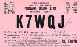 Amateur Radio QSL - K7WQJ/M Mobile In Shernab County Oregon -USA- 1967 - 2 Scans - Radio Amateur