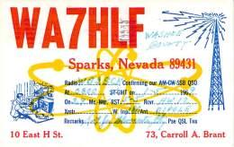 Amateur Radio QSL - WA7HLF - Sparks, NV -USA- 1969 - 2 Scans - Radio Amateur