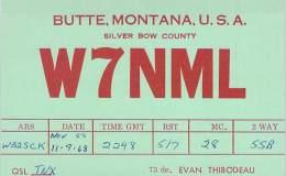 Amateur Radio QSL - W7NML - Butte, NM -USA- 1968 - 2 Scans - Radio Amateur