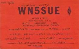 Amateur Radio QSL - WN5SUE - Biloxi, MS -USA- 1968 - 2 Scans - Radio Amateur