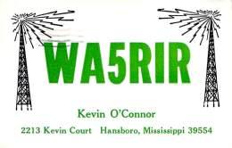 Amateur Radio QSL - WA5RIR - Hansboro, MS -USA- 1967 - 2 Scans - Radio Amateur