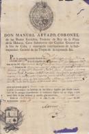 E867 CUBA SPAIN ESPAÑA 1808. LICENCIAMIENTO DE SERVICIO MILITAR. ARTAZO COAST. NOBILIARY FAMILIY  ARTAZO - Stamps