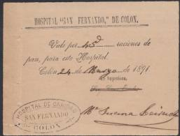 E876 CUBA SPAIN ESPAÑA 1891 HOSPITAL SAN FERNANDO, COLON. VALE DE PAN BAKERY - Stamps