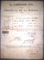 E928 SPAIN ESPAÑA CUBA OBSOLETE PASSP TO SPAIN 1886 REVENUE  GIROS STAMP - America (Other)