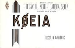 Amateur Radio QSL - K0EIA - Cogswell, ND -USA- 1967 - 2 Scans - Radio Amateur