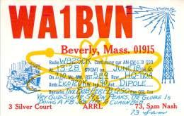 Amateur Radio QSL - WA1BVN - Beverly, MA -USA- 1966 - 2 Scans - Radio Amateur