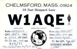 Amateur Radio QSL - W1AQE - Chelmsford, MA -USA- 1966 - 2 Scans - Radio Amateur