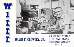 Amateur Radio QSL - W1III - Dedham, MA -USA- 1966 - 2 Scans - Radio Amateur
