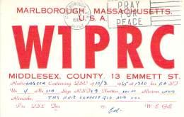 Amateur Radio QSL - W1PRC - Marlborough, MA -USA- 1965 - 2 Scans - Radio Amateur