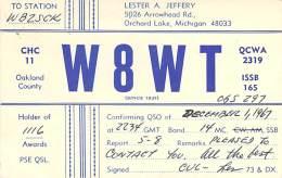 Amateur Radio QSL - W8WT - Orchard Lake, MI -USA- 1967 - 2 Scans - Radio Amateur