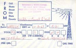 Amateur Radio QSL - K3YMK/M Mobile In Emmet County, MI -USA- 1967 - 2 Scans - Radio Amateur