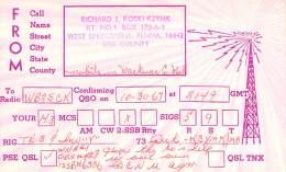 Amateur Radio QSL - K3YMK/M Mobile In Mackinac County, MI -USA- 1967 - 2 Scans - Radio Amateur