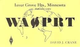 Amateur Radio QSL - WA0PRT - Inver Grove Heights, MN - 1968 - 2 Scans - Radio Amateur