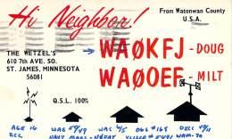 Amateur Radio QSL - WA0KFJ - St. James, MN -1966 - 2 Scans - Radio Amateur