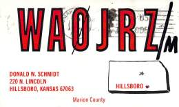 Amateur Radio QSL - WA0JRZ/M Mobile In Gage County NE -USA- 1968 - 2 Scans - Radio Amateur