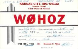 Amateur Radio QSL - W0HOZ - Independence, MO -USA- 1967 - 2 Scans - Radio Amateur