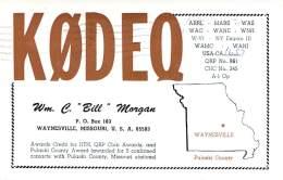 Amateur Radio QSL - K0DEQ - Waynesville, MO -USA- 1967 - 2 Scans - Radio Amateur