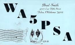 Amateur Radio QSL - WA5PSA - Tulsa, OK -USA- 1967 - 2 Scans - Radio Amateur