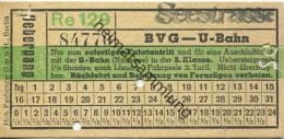 Berlin - BVG - U-Bahn - Übergang Zur S-Bahn In Der 3. Klasse - Seestrasse - Fahrschein - U-Bahn