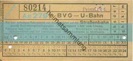Berlin - BVG - U-Bahn Mit Anschlussfahrt Auf Der Strassenbahn - Prinzenstrasse - Fahrschein - U-Bahn