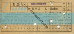 Berlin - BVG - U-Bahn Mit Anschlussfahrt Auf Der Strassenbahn - Alexanderplatz - Fahrschein - U-Bahn