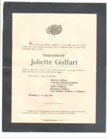 Faire-part De Décès De Melle Juliette GOFFART Malmedy 1922 (b188) - Obituary Notices