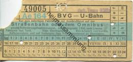 Berlin - BVG - U-Bahn Mit Anschlussfahrt Auf Der Strassenbahn Oder Dem Omnibus - Onkel Toms Hütte - Fahrschein - U-Bahn