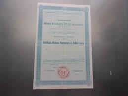 MINES D´OUASTA ET DE MESLOULA (algerie) Certificat - Shareholdings