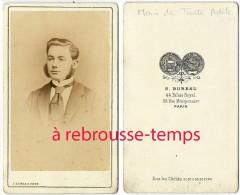 CDV Mode Second Empire-homme, Rouflaquettes Et Grosse Cravate-photo S. Bureau à Paris - Anciennes (Av. 1900)