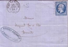 DROME - SUZE-LA-ROUSSE - 26 JANVIER 1858 - EMPIRE N°14 OBLITERATION PC2958 - ETS PROSPER BISCARRAT  A BOUCHET. - 1849-1876: Classic Period
