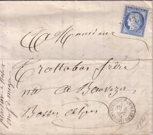 DROME - CHATEUNEUF DE MAZENC -8 SEPTEMBRE 1874 - CERES N°60 OBLITERATION GC935 - ENTETE PLAISANCE MARCHAND DRAPIER - Marcophilie (Lettres)