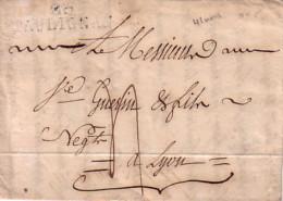 DROME - 25 TAULIGNAN - 22 OCTOBRE 1825 - LETTRE DE GRIGNAN AVEC TEXTE ET SIGNATURE REBOUL & FLESSAIRE - INDICE 12 100€ - Marcophilie (Lettres)